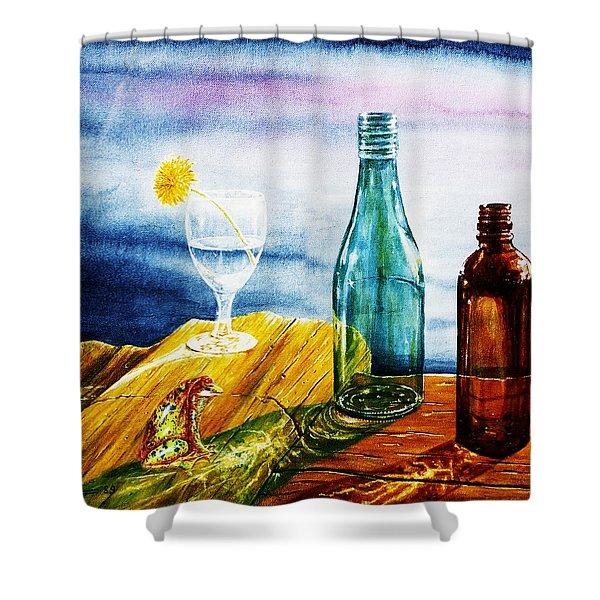 Sunlit Bottles Shower Curtain