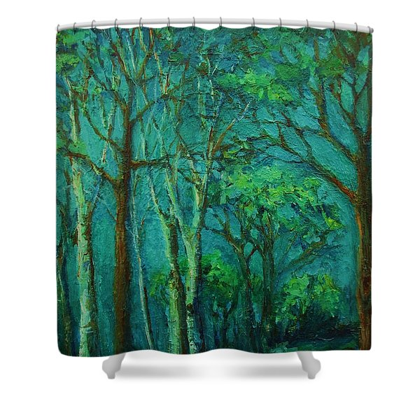 Sunlit Woodland Path Shower Curtain