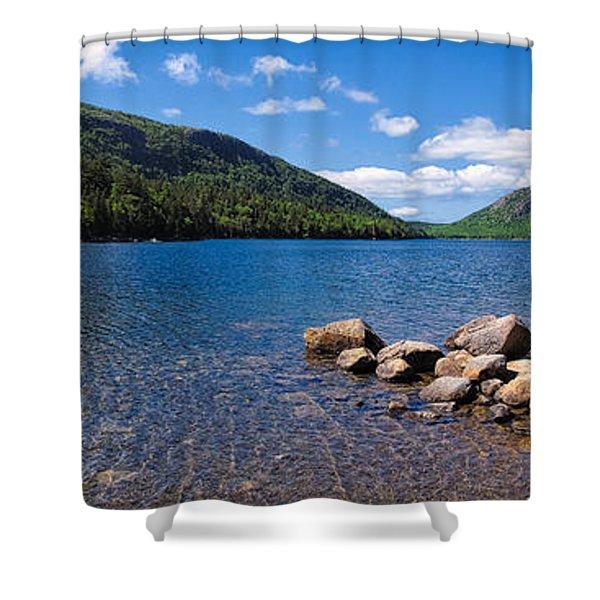 Sunny Day On Jordan Pond   Shower Curtain