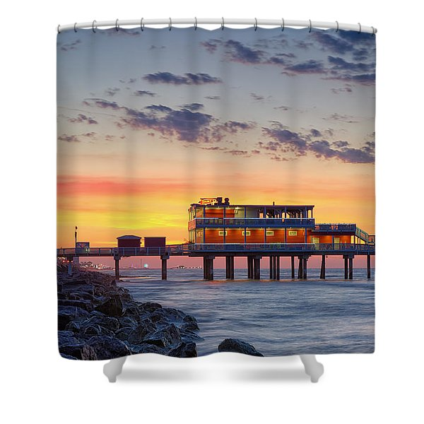 Sunrise At The Pier - Galveston Texas Gulf Coast Shower Curtain