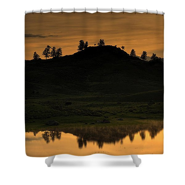 Sunrise Behind A Yellowstone Ridge Shower Curtain