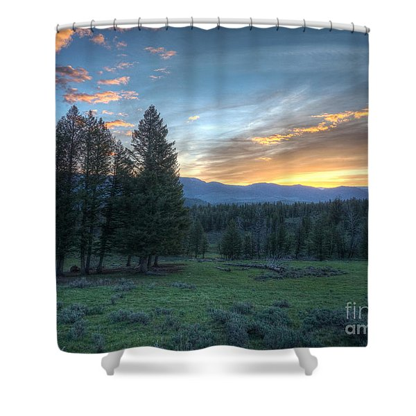 Sunrise Behind Pine Trees In Yellowstone Shower Curtain