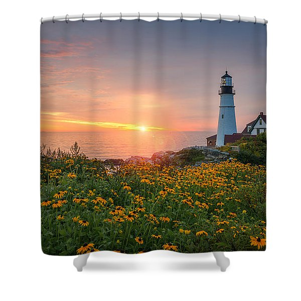Sunrise Bliss At Portland Lighthouse Shower Curtain