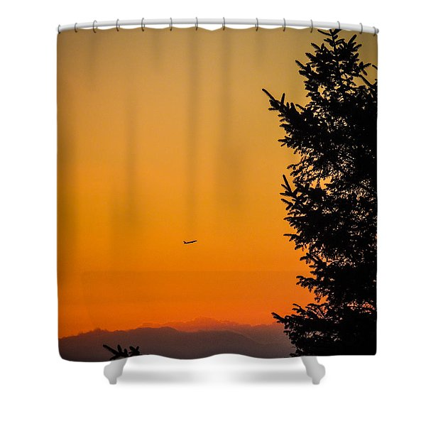 Sunrise Flight Departing Shannon Airport Shower Curtain