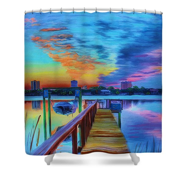 Sunrise On The Dock Shower Curtain