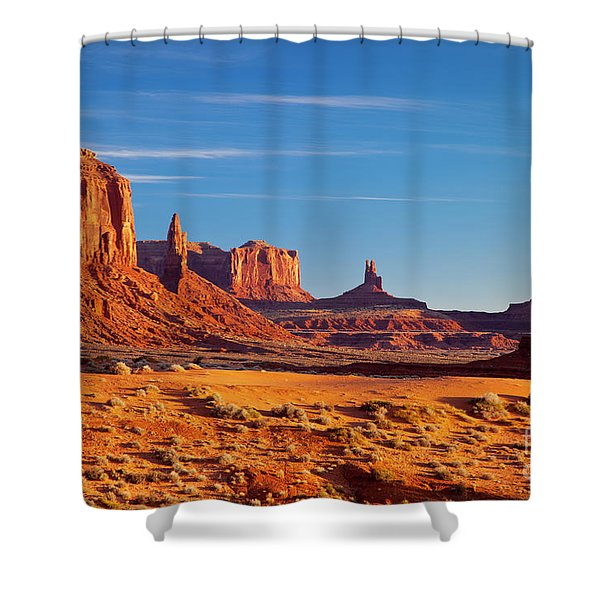 Shower Curtain featuring the photograph Sunrise Over Monument Valley by Brian Jannsen