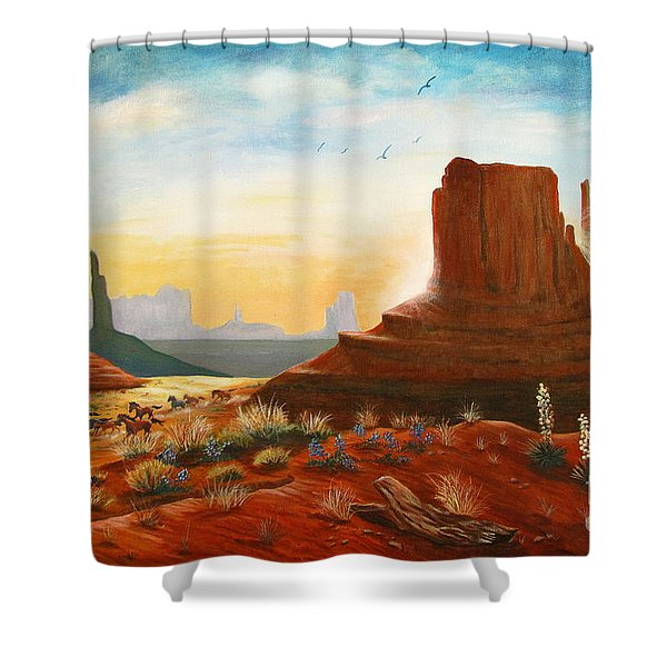 Sunrise Stampede Shower Curtain