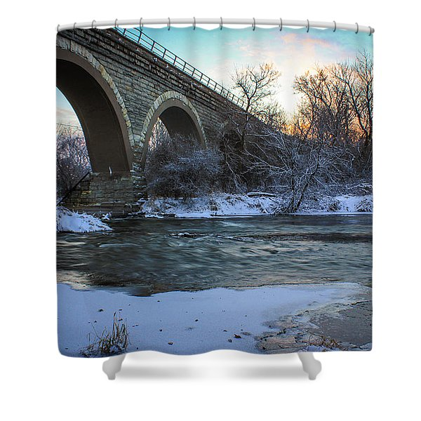 Sunrise Under The Bridge Shower Curtain