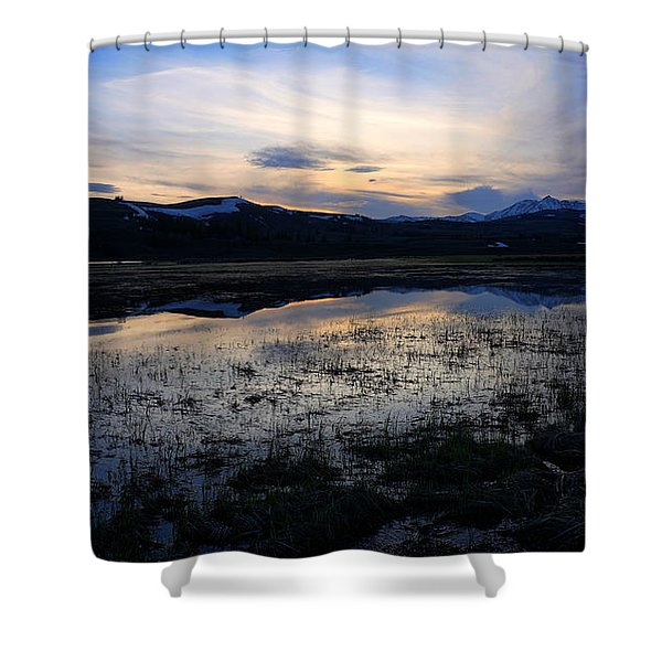 Sunset At A Lake Near Mammoth In Yellowstone Shower Curtain