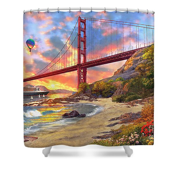 Sunset At Golden Gate Shower Curtain