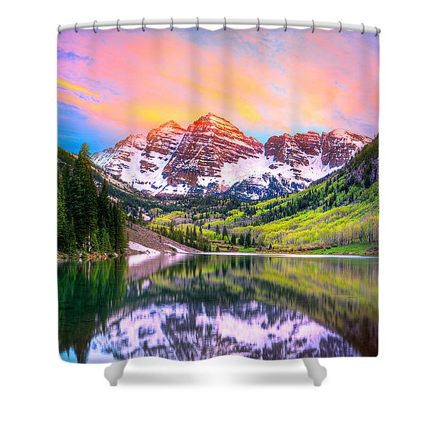 Sunset At Maroon Bells And Maroon Lake Aspen Co Shower Curtain