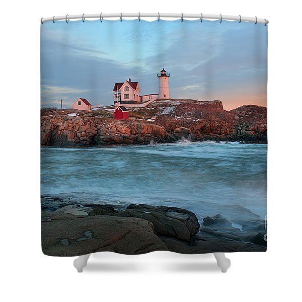 Sunset At Nubble Lighthouse Shower Curtain