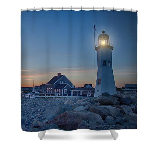 Sunset At Scituate Light Shower Curtain