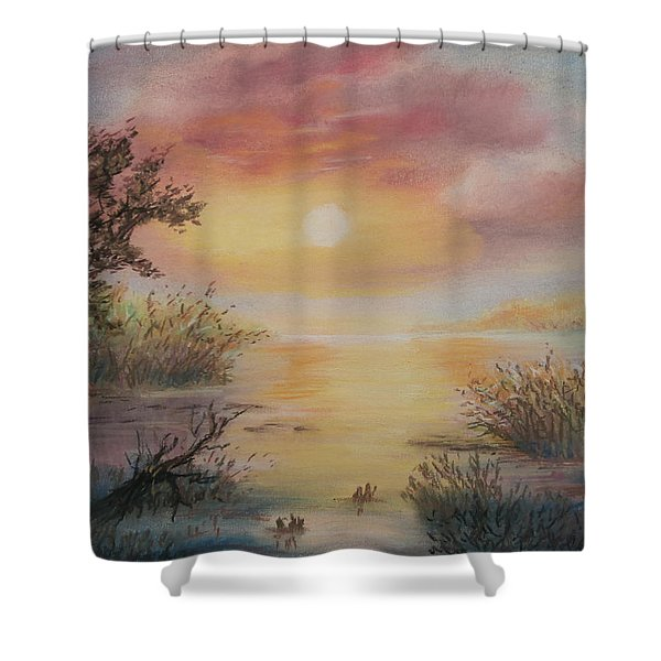 Sunset By The Lake Shower Curtain