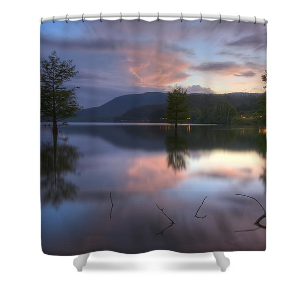 Sunset Lake Reflections Shower Curtain