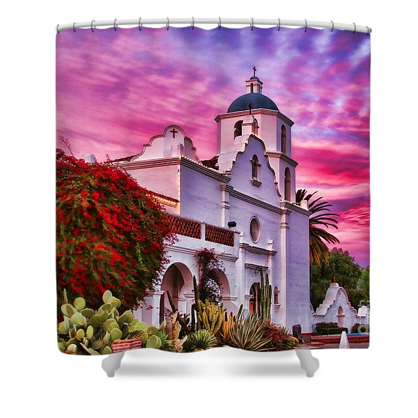 Sunset Mission San Luis Rey De Francia By Diana Sainz Shower Curtain