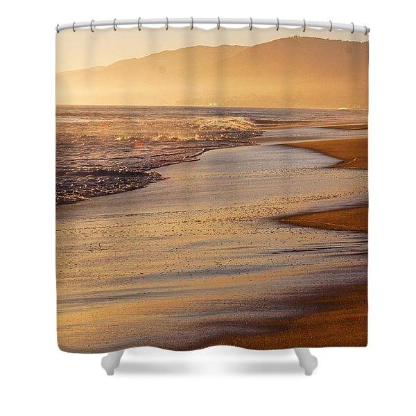 Sunset On A Beach Shower Curtain