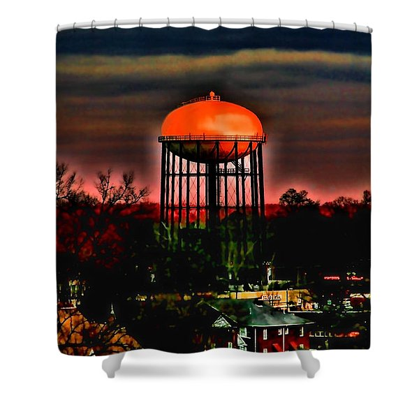 Sunset On A Charlotte Water Tower By Diana Sainz Shower Curtain