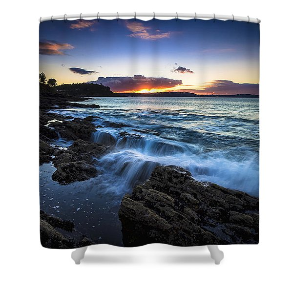 Sunset On Ber Beach Galicia Spain Shower Curtain