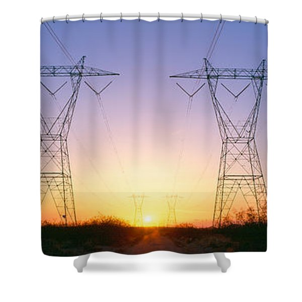 Sunset On Electrical Transmission Shower Curtain