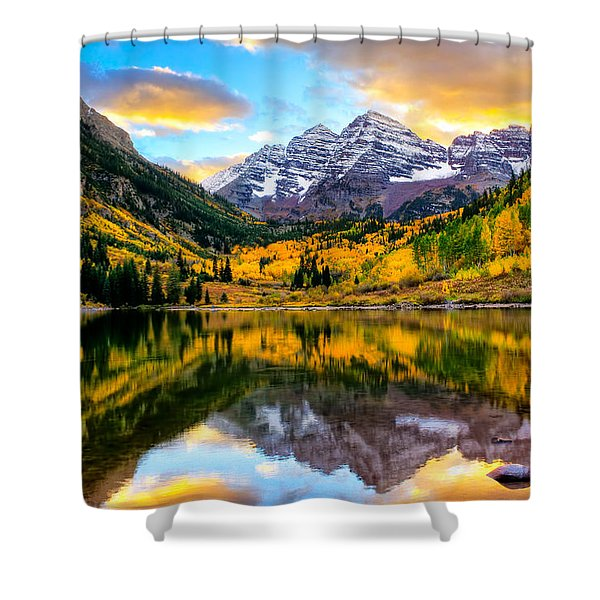 Sunset On Maroon Bells Shower Curtain