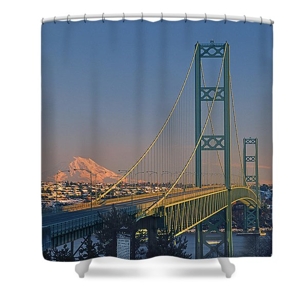 1a4y20-v-sunset On Rainier With The Tacoma Narrows Bridge Shower Curtain