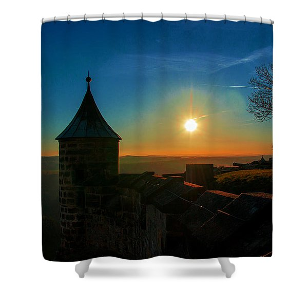 Sunset On The Fortress Koenigstein Shower Curtain