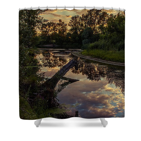 Sunset On The Quiet River Shower Curtain