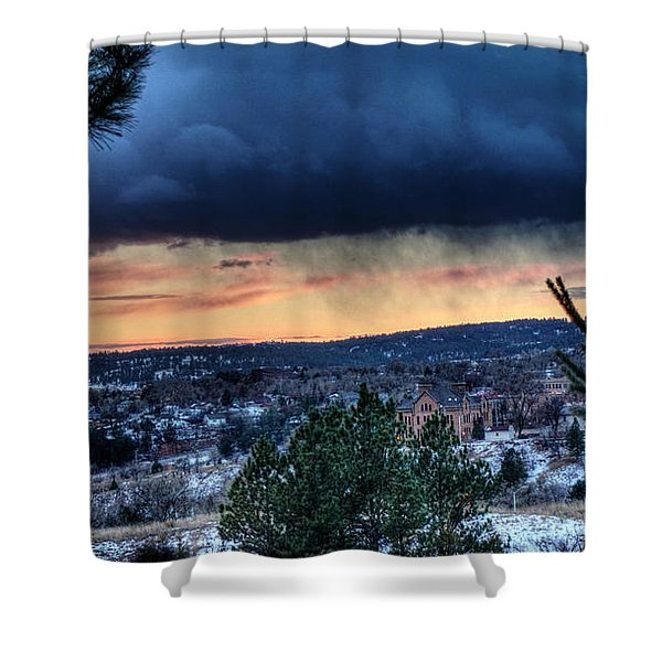Sunset Over Hot Springs Shower Curtain