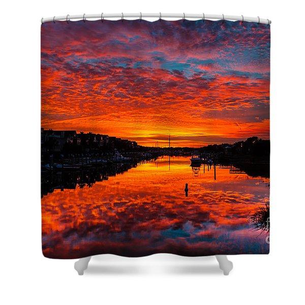 Sunset Over Morgan Creek - Wild Dunes Resort Shower Curtain