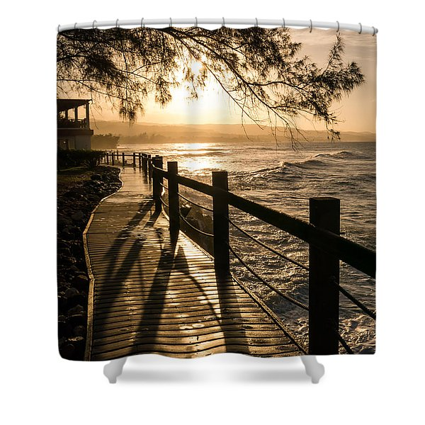 Sunset Over Ocean Walkway Shower Curtain