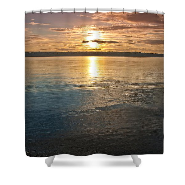 Sunset Over Puget Sound Shower Curtain