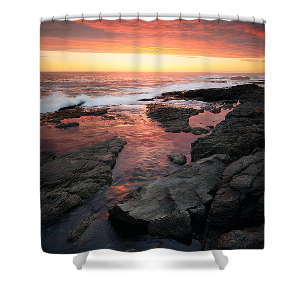 Sunset Over Rocky Coastline Shower Curtain