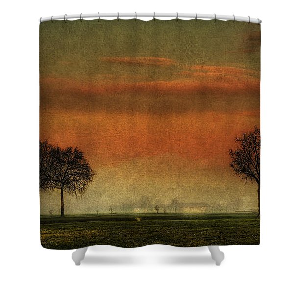 Sunset Over The Country Shower Curtain