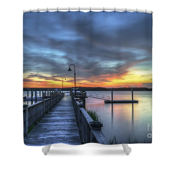 Sunset Over The River Shower Curtain
