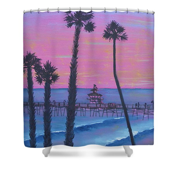 Shower Curtain featuring the painting Sunset Pier by Mary Scott