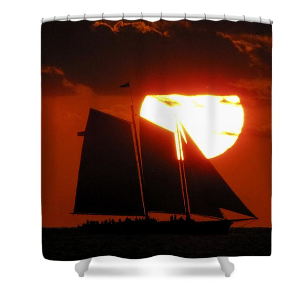 Key West Sunset Sail 5 Shower Curtain