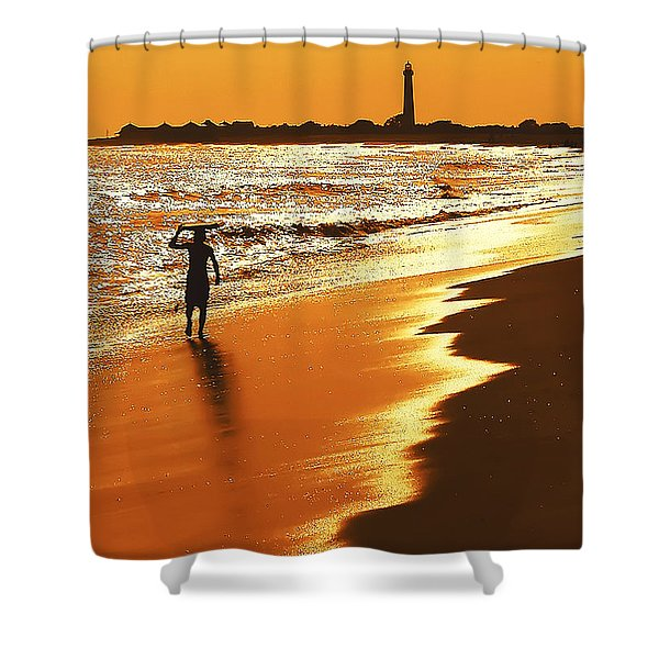 Sunset Surfer Shower Curtain