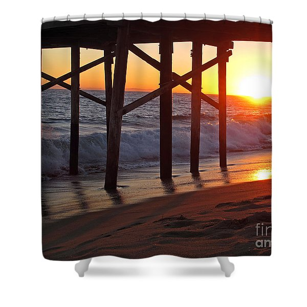 Sunset Under The Pier Shower Curtain