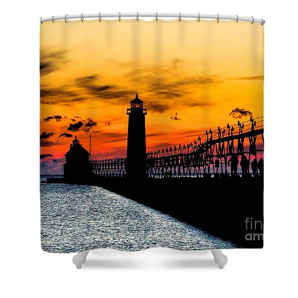 Sunset Walking On Grand Haven Pier Shower Curtain
