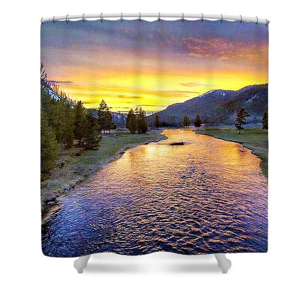 Sunset Yellowstone National Park Madison River Shower Curtain