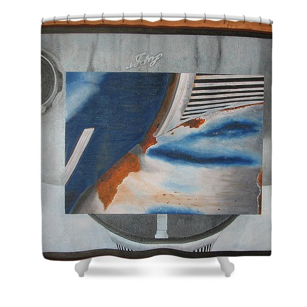 Shower Curtain featuring the painting Super Delux by KarinThue