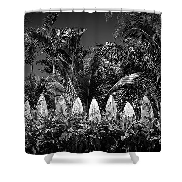 Shower Curtain featuring the photograph Surf Board Fence Maui Hawaii Black And White by Edward Fielding
