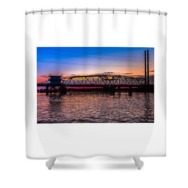 Surf City Swing Bridge Shower Curtain