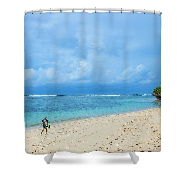 Surfer On The Tropical Beach Shower Curtain