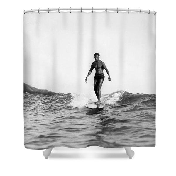 Surfing At Waikiki Beach Shower Curtain