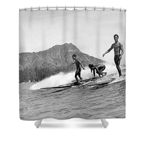 Surfing In Honolulu Shower Curtain