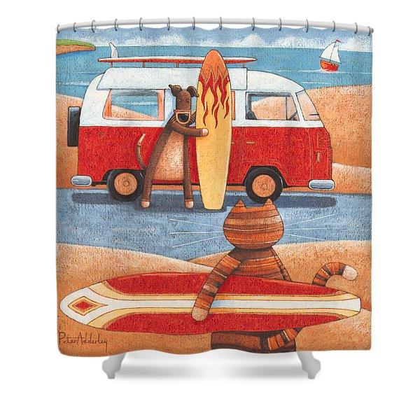 Surfing Showdown Shower Curtain