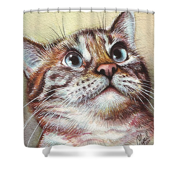 Surprised Kitty Shower Curtain