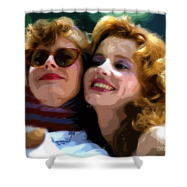 Susan Sarandon And Geena Davies Alias Thelma And Louis - Watercolor Shower Curtain